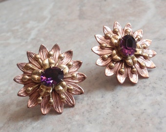 Flower Earrings Purple Rhinestone Sterling Silver Rose and Yellow Gold Plated Prong Set Screw Back Vintage V0467