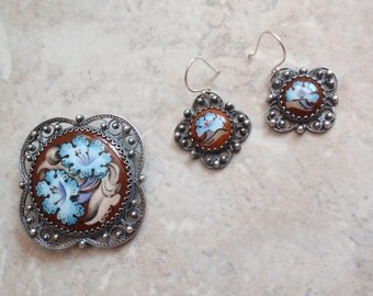 Russian Enamel Earring Brooch Set Silver Plate Floral Morning Glory Vintage 071815AR