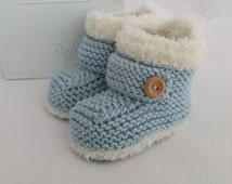 Knitted Baby Booties - Baby Boys Booties - Handmade Snug Bootees - 0-3 Months, 3-6 Months, 6-9 Months, Sky Blue - Handmade Baby Gift
