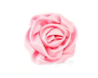 Light Pink Elegant Rosette Satin Flowers 3 inch Set of 2 - Light Pink Satin Flowers, Light Pink Rosettes, Light Pink Flowers for Hair