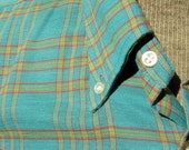 Button Down Shirt Sky Blue Plaid Vintage 60s 70s Woven Oxford Mens Size L