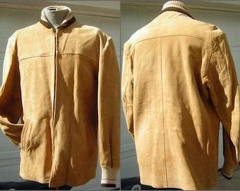 "Buckskin Deerskin Suede Jacket RICH SHER Knit collar & Cuffs 50s Vintage Rockabilly Supple and Smooth - S to M Chest 49"""