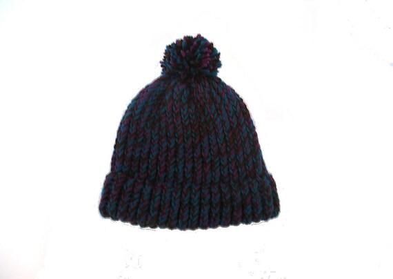 Beanie hat, handknit, brown, teal, mulberry, item BRB1