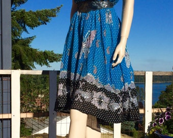 Vintage TURQUOISE India Gauze Sequin BUTTERFLY Skirt or Dress