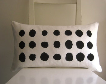 Lumbar Black Dots on White canvas 21 x 12 Cushion cover