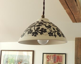 Porcelain Pendant Lamp in White with Dark Warm Black, Hand Carved Birds and Flowers and Bunnies