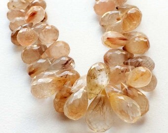 Rutilated Gold Quartz, Gold Rutile Micro Faceted Tear Drop Beads, Gold Rutilated Necklace, 7x10mm To 12x18mm 8 Inch Strand, 50 Pieces