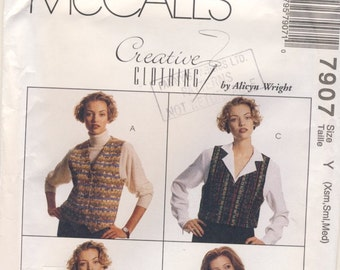 McCall's Creative 7907 Misses Pinweave Vests  Sizes Xsmall, Small, and Medium with pinweaving instruction