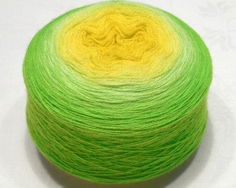 Extra fine merino wool 100g (3.5oz) lace weight handdyed yarn - Gradient yarn - Lemon to chartreuse
