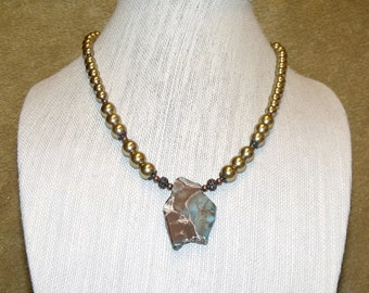 Brown and Turquoise Free Form Stone Pendant Necklace