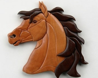Horse Intarsia Wall Hanging Animal Head Wood Carving Wooden Stallion