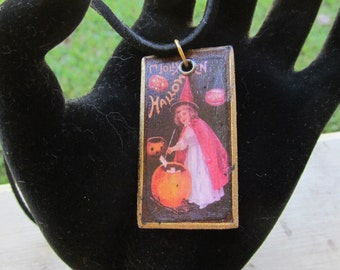Altered Art Mixed Media Halloween Necklace Z 66