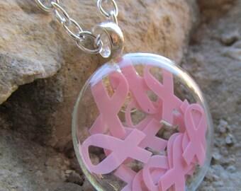 Pink Ribbon Shadowbox Necklace Pendant