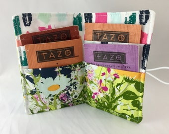 Tea Wallet Tea Bag Wallet Tea Bag Case Tea Bag Holder Tea Holder Tea Bag Cozy  Tea Bag Organizer Art Gallery Lavish Mothers Garden in Light