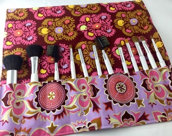 Makeup Brush Roll Organizer Cosmetic Brush Roll - Amy Butler Dream Weaver Mantra in Violet - Ready to Ship