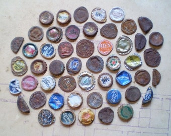 51 Salvaged Metal Bottle Caps - Found Objects for Assemblage, Altered Art or Mixed Media - Rusty Supplies