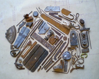 Rusty Metal Pieces - Found Objects for Assemblage, Jewelry or Altered Art - Salvaged Supplies - Industrial Salvage