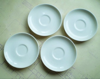 4 Iroquois Casual China by Russel Wright Saucers - White - Circa 1950s