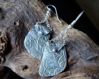 Fine Silver Earrings - PMC - Tattered Thread Dangles - Chain Dangle Earrings