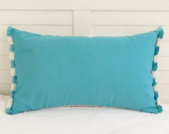 Sunbrella Aruba Turquoise and White Indoor Outdoor Designer Pillow Cover with Fringe