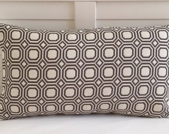 Geometric Octagons in Gray and Cream Lumbar Pillow Cover