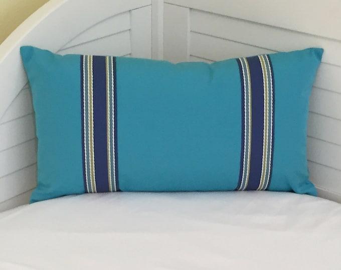 Sunbrella Aruba Turquoise Indoor Outdoor Lumbar Pillow Cover with Trim Tape