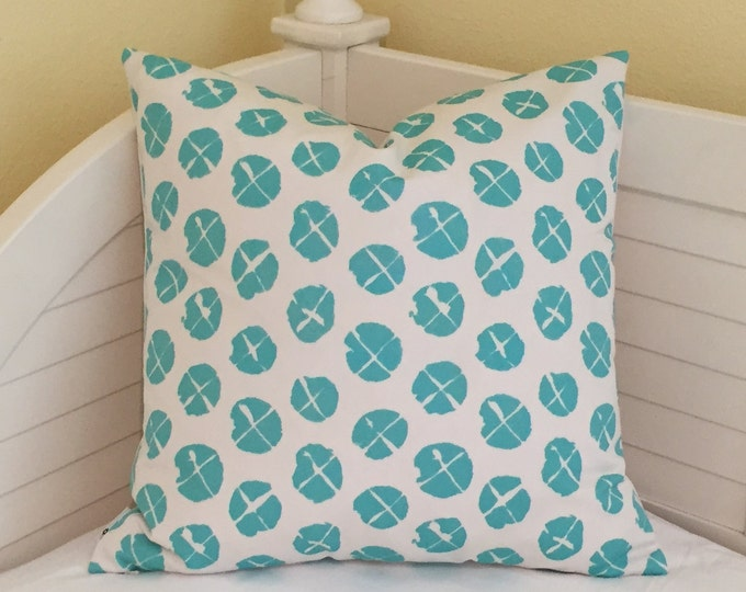 LABOR DAY SALE, Quadrille China Seas Obi  Suncloth in Turquoise and White Indoor Outdoor Designer Pillow Cover 20x20