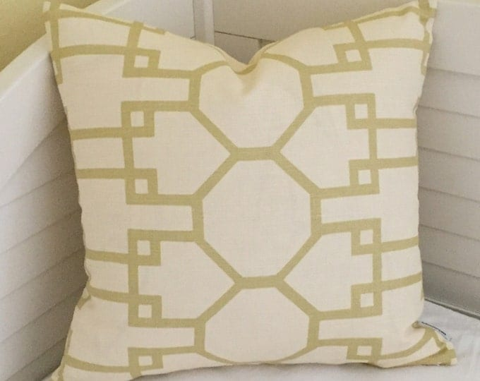 Quadrille China Seas Brighton Beige on Cream Designer Pillow Cover - Square, Euro and Lumbar Sizes