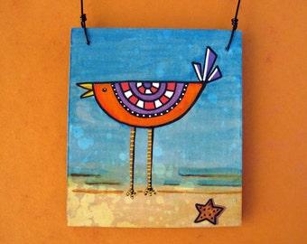 Bird Art Ornament, Original Mixed Media Art, OOAK Ornament, whimsical bird, beach, sand, starfish, unique gift, gift exchange, secret santa