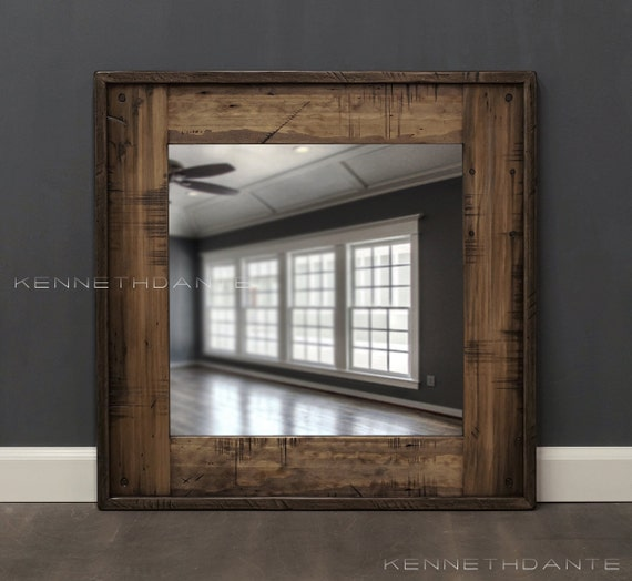 Reclaimed Wood Mirror Bathroom Mirror Brown By KennethDante