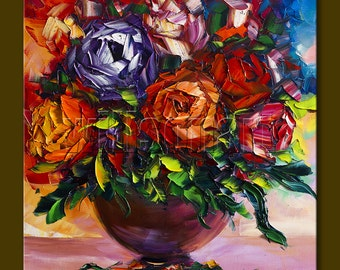 Original Painting Textured Palette Knife Oil on Canvas Roses Floral Contemporary Modern Art 16X16 by Willson Lau