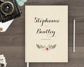 Country wedding guest book, Rustic wedding sign in book, Boho floral wreath (gb0008)