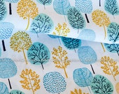 Organic Cotton Fabric, Quilting Weight textile, Morn's Rays Turquoise from Cloud9 By Eloise Renouf