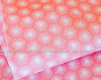 Organic Cotton Fabric, Quilting Weight textile, Morn's Rays Pink from Cloud9 By Michelle Engel Bencsko