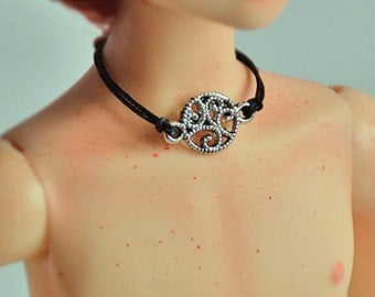 Druid's Spell - MSD 1/4 jewelry set of 3. Bracelets and necklace for BJD Dollfie. Black, siler, wizard look