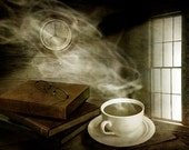 Steaming Morning Cup of Hot Coffee with Books and Reading Glasses by Window Light No.12734 A Fine Art Still Life Photograph