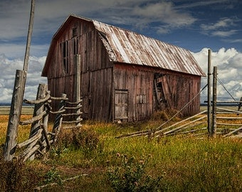 Old Wooden Barn by Corral Fence out West under a Cloudy Blue Sky No.6672 - A Fine Art Architectural Farm Ranch Landscape Photograph