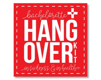 Bachelorette Sticker, Bachelorette Party Sticker, Bachelorette Bag Sticker, Hangover Sticker, Hangover Kit Sticker, Hangover Bag Sticker