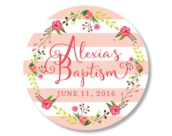 Bridal Shower Sticker, Baptism Sticker, Wedding Favor Sticker, Wedding Sticker, Flower Sticker, Baby Shower Sticker, Flower Invitation