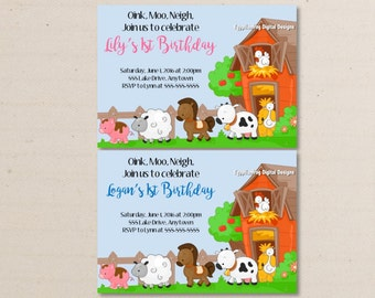 Farm Animals Birthday Invitation - You Print As Many Copies as You Need