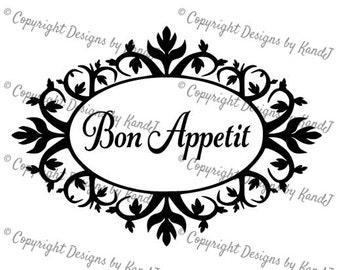 Kitchen svg Bon Appetit svg digital cut file  svg Instant download