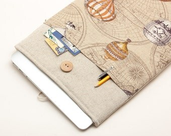 """White Linen MacBook 12 Case. Case with hot air balloons pocket for MacBook 12 Retina. Sleeve for MacBook 12"""" inch."""