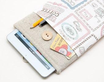 """White Linen Google Nexus case. Cover for google nexus 9. Sleeve with sheep pocket for google nexus 9"""""""