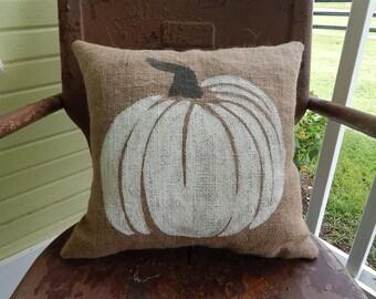 FALL HALLOWEEN White and Gray PUMPKIN Fun Painted Burlap Throw Accent Pillow Home Decor Farm House