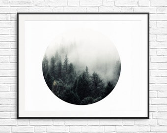 Art Print fog forest - 10x8 - digital prints, zen, living room prints - black and white