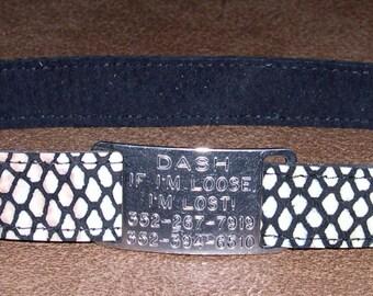 Leather Custom Tag Collar for Greyhounds - Shiny Snakeskin