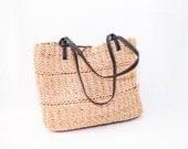light brown woven straw - rustic purse - shoulder bag