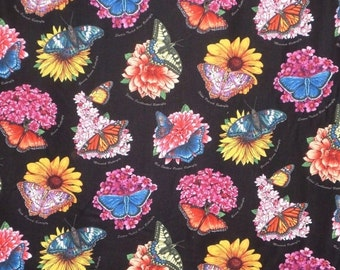 ON SALE SPECIAL--Colorful Butterfly Garden Print Pure Cotton Fabric--One Yard