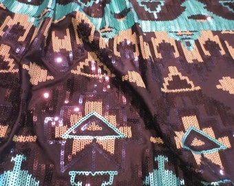 Turquoise and Black Aztec Design Stretch Knit Sequin Fabric--By the Yard