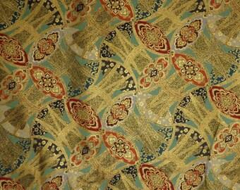 Metallic Gold on Seafoam Green Japanese Ball Print Pure Cotton Fabric--One Yard